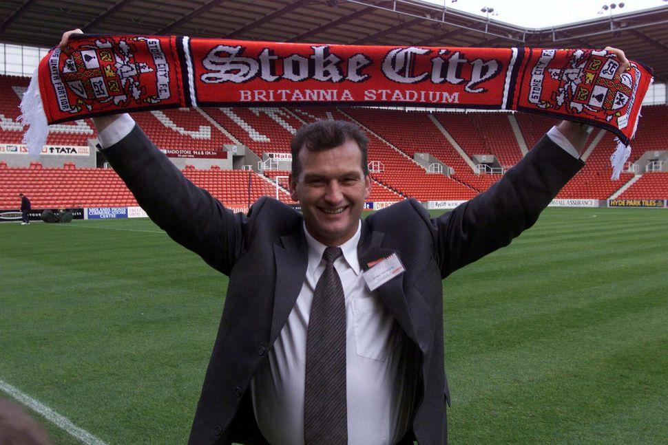 Guðjón Þórðarson á Britannia Stadium, heimavelli Stoke City.