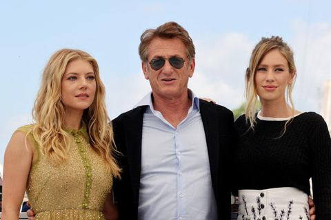 Canadian actress Katheryn Winnick, American actor and director Sean Penn, and his daughter, actress Dylan Penn, at the Cannes Film Festival.