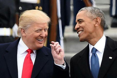 Donald Trump og Barack Obama saman á tröppum þinghússins eftir að sá fyrrnefndi tók við …