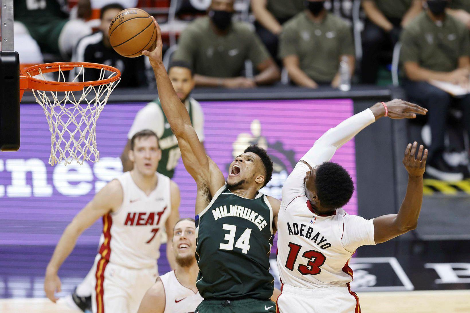 Giannis Antetokounmpo var í stóru hlutverki hjá Milwaukee Bucks að …
