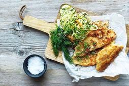Girnileg rauðspretta með stökku salati.