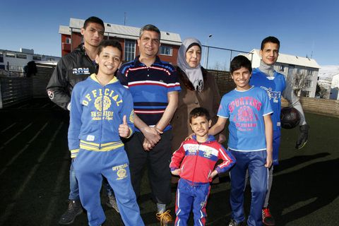 The Naser family from Syria during football practice at Oddeyrarskóli in Akureyri. f
