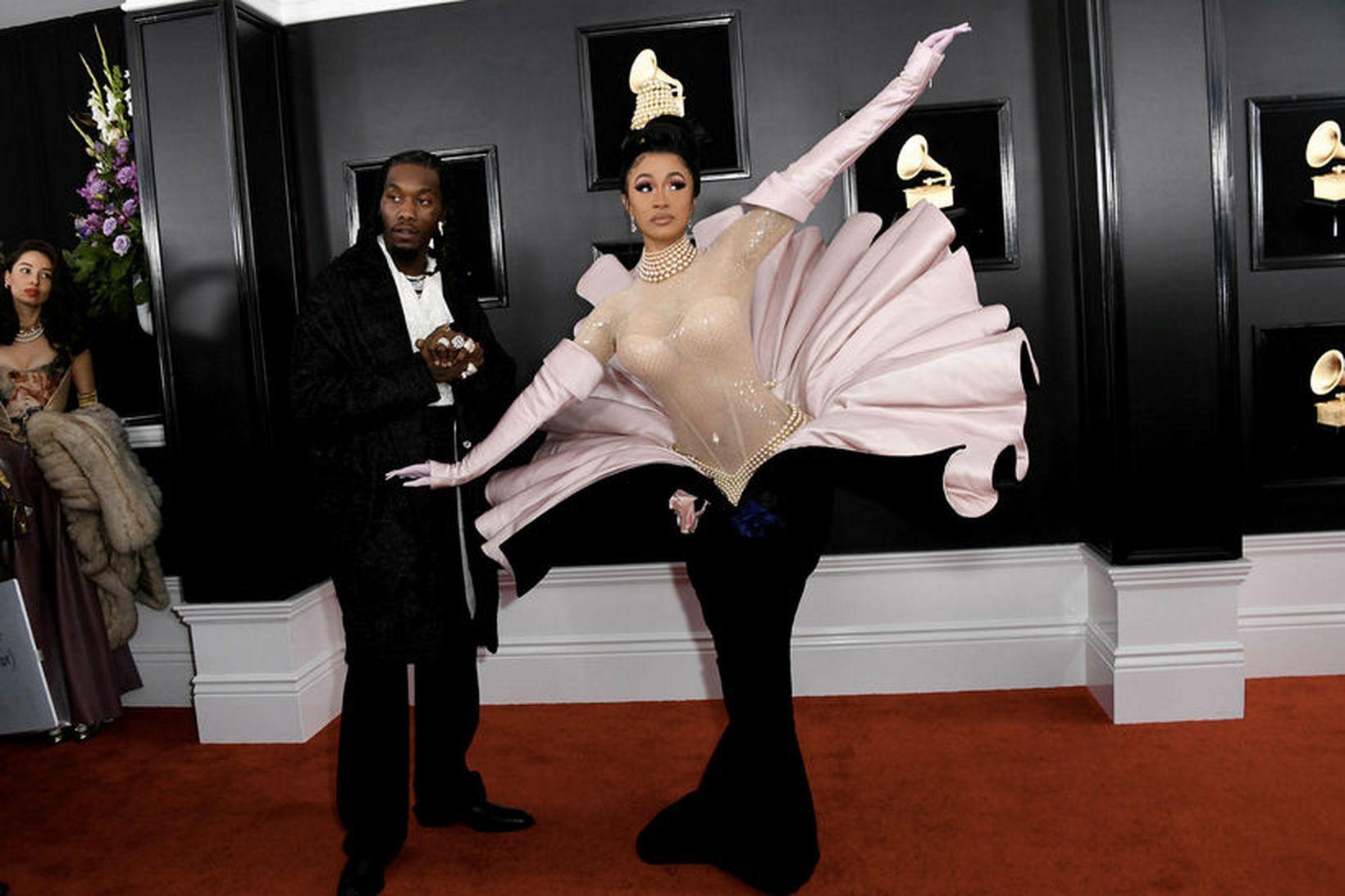Offset og Cardi B mættu saman á Grammy-verðlaunin.