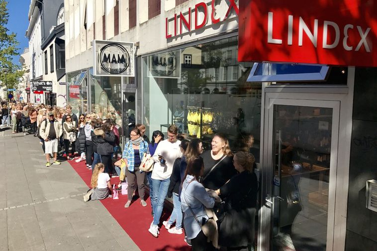 A long queue formed outside the Lindex lingerie store in downtown Reykjavik.
