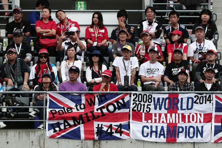 Stuðningsmenn Lewis Hamilton voru áberandi í stúkum Suzuka.