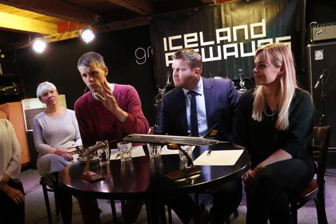 Iceland Airwaves make the announcement at the Græni hatturinn music venue in Akureyri this morning.