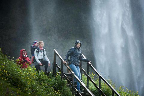 Tourists at Seljalandsfoss.