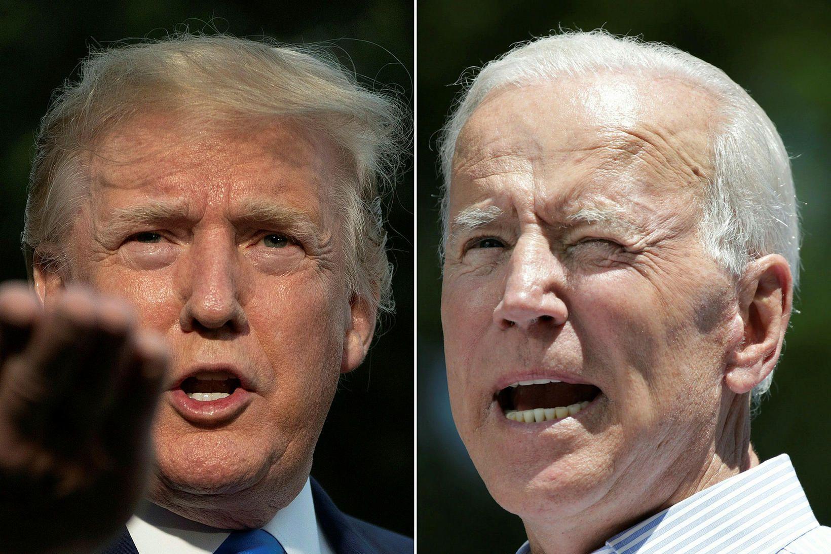 Donald Trump Bandaríkjaforseti og væntanlegur mótframbjóðandi hans Joe Biden fyrir …