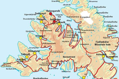 Kort af Vestfjörðum