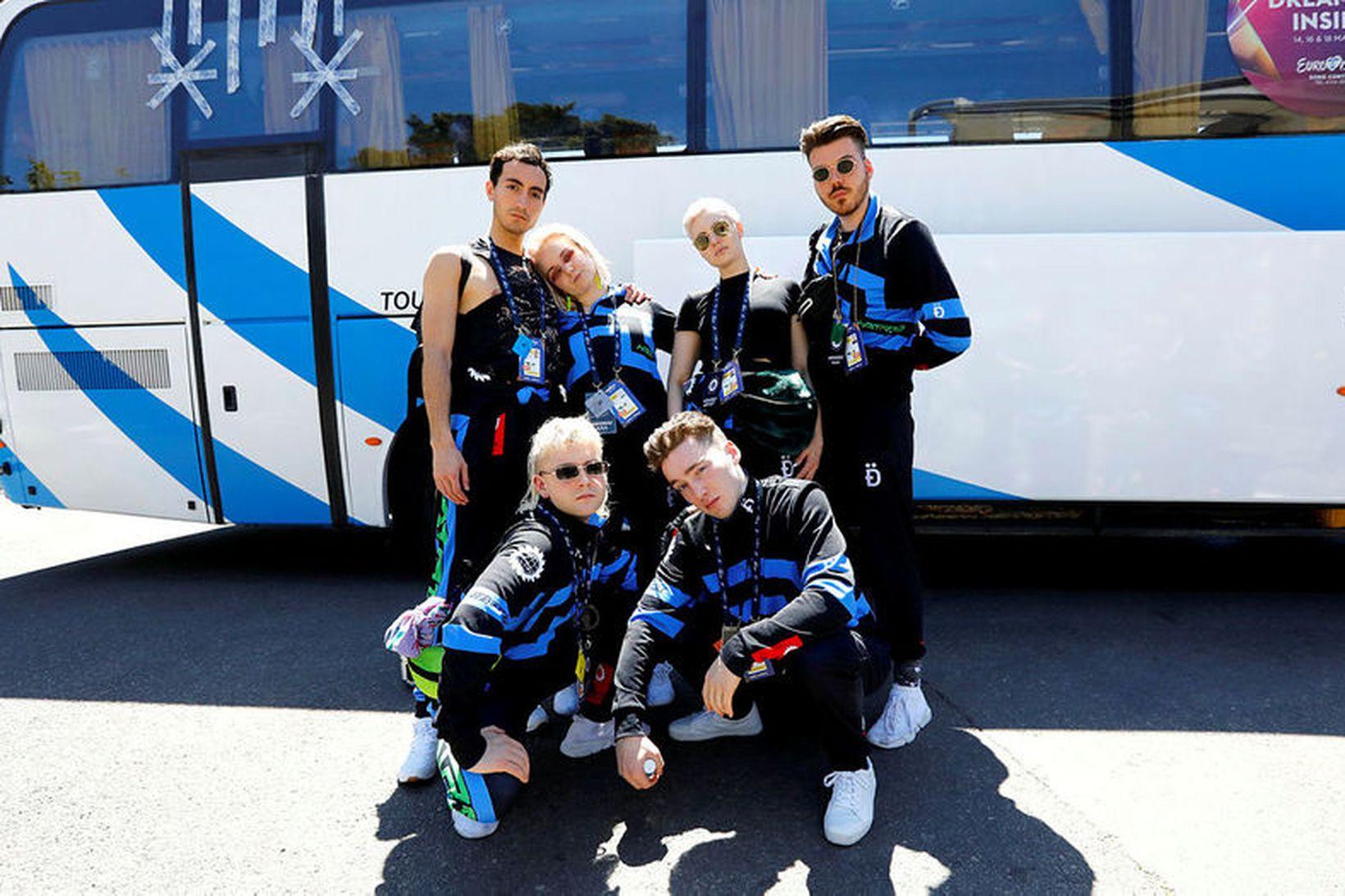 Heimferð íslenska Eurovision-hópsins frá Tel Aviv fékk heldur óskemmtilegt upphaf …
