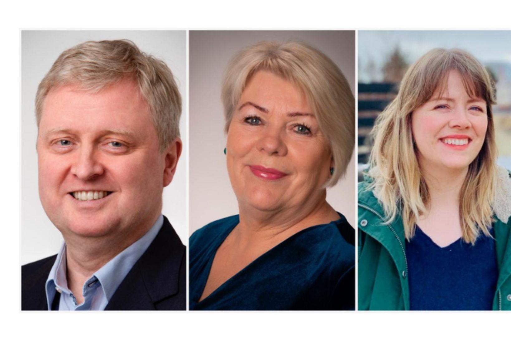 Bjarni, Lilja Rafney og Sigríður.