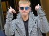 Justin Bieber wearing a JÖR houndstooth jacket.