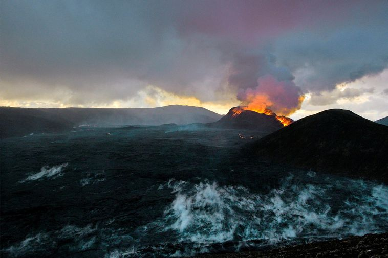 From the eruption site by Fagradalsfjall mountain.