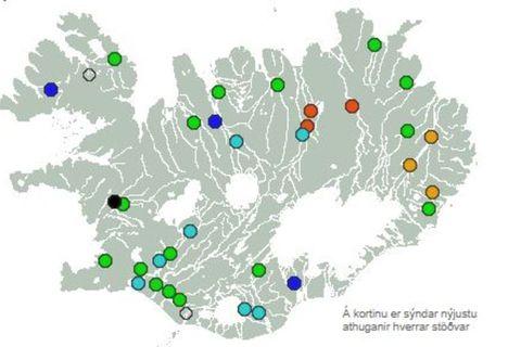 Jökulsá á Fjöllum er nánast rauð en hlutfallstala rennslis er 92%. Í skýringu segir að ...