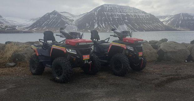 Um er að ræða tvö Arctic cat Alterra 1000cc fjórhjól.