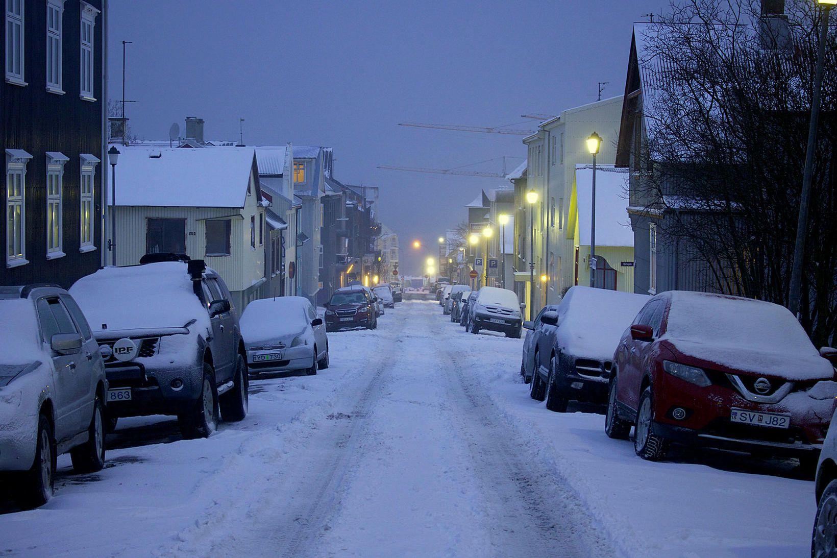 Vetrarlegt er í Reykjavík eins og alls staðar á landinu.