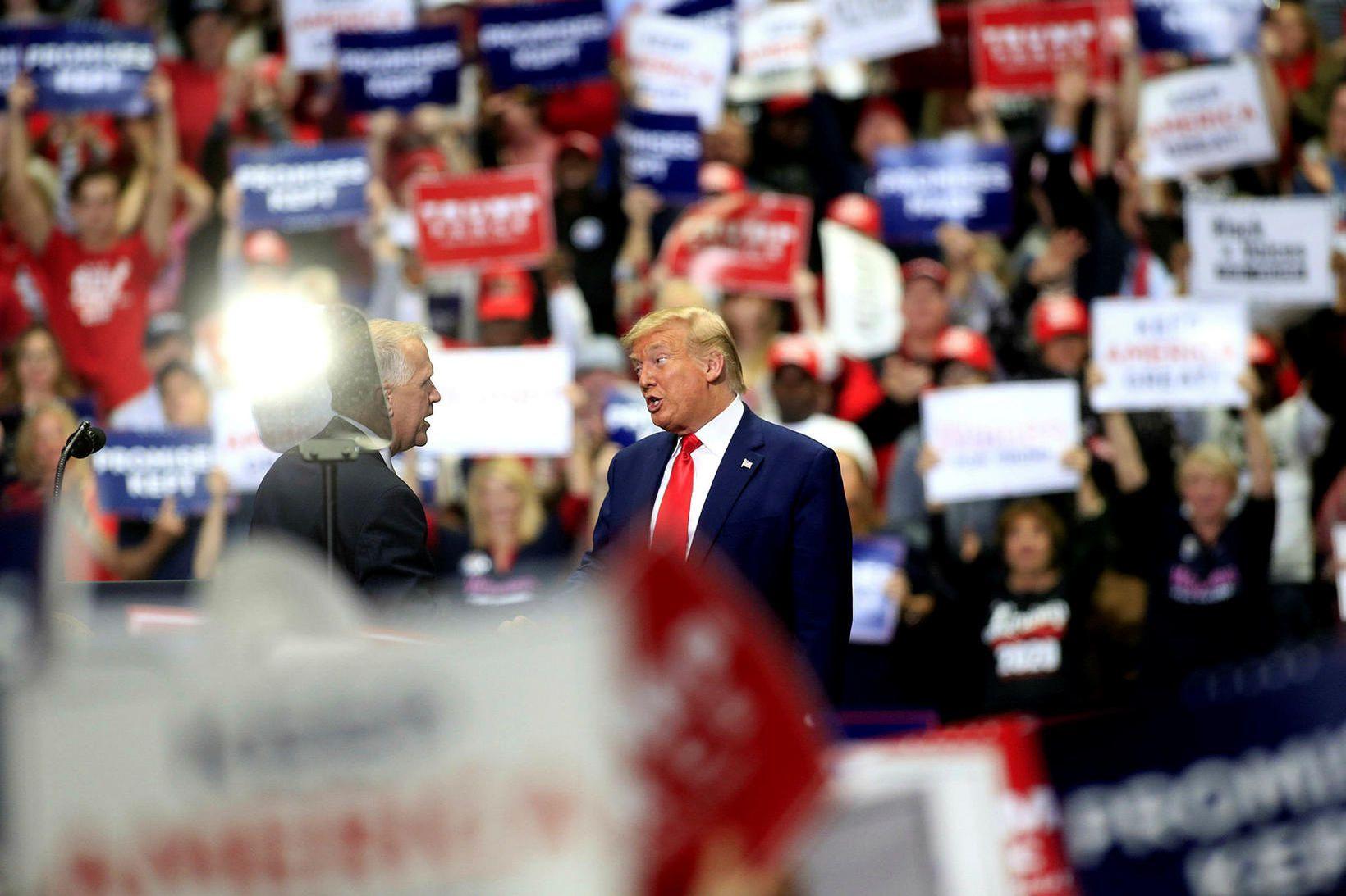 Donald Trump hélt kosningafund í Nýju-Karólínu í vikunni.