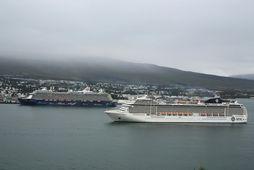 Cruise ships in Akureyri, North Iceland.
