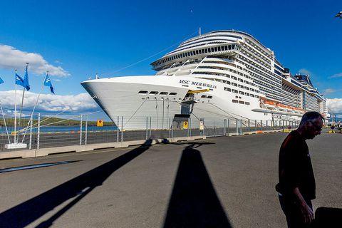 A large cruise ship in Sundahöfn port, Reykjavík.