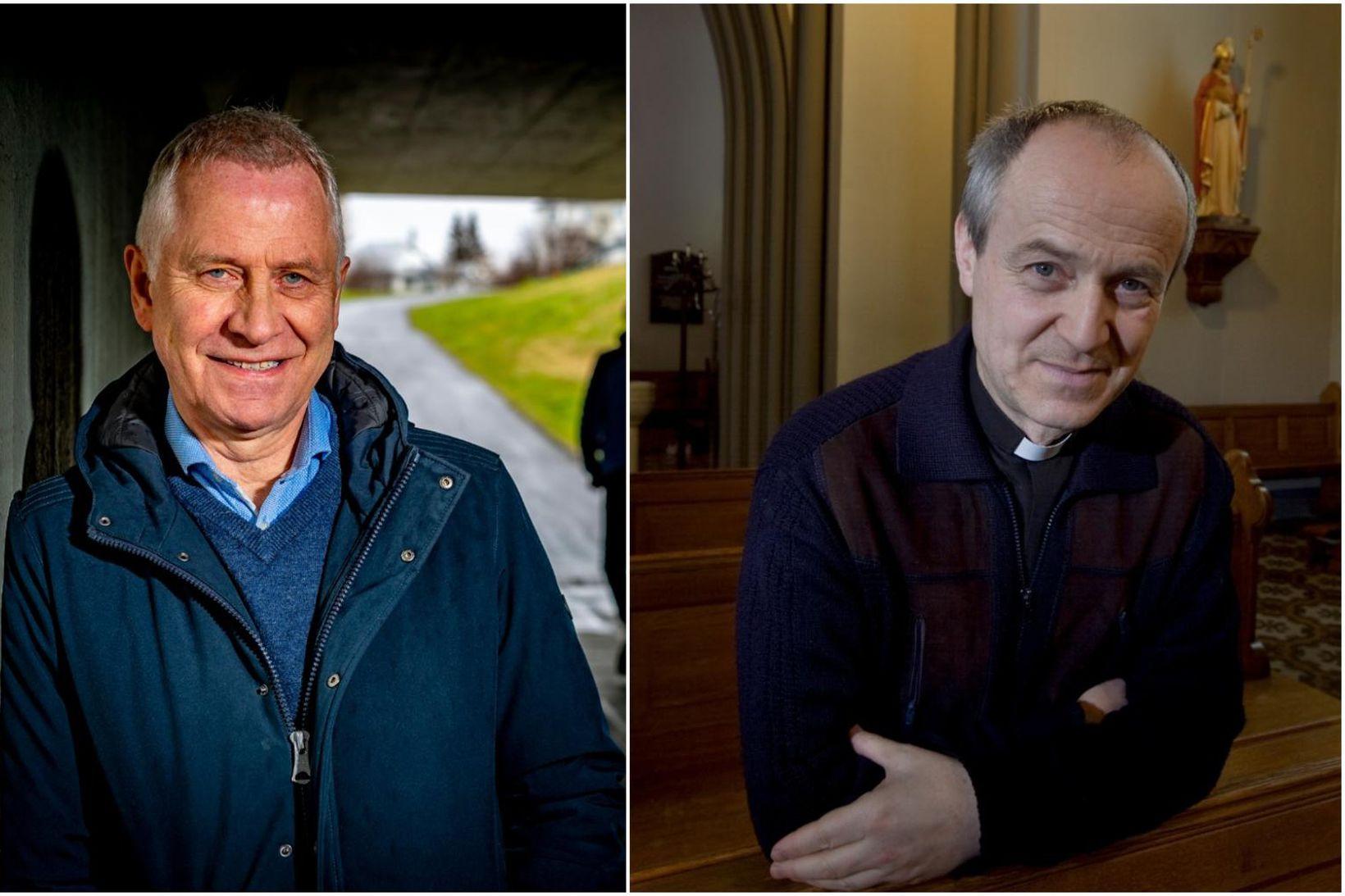 Þórólfur Guðnason sóttvarnalæknir og Jakob Rolland kanslari biskupsdæmis kaþólsku kirkjunnar