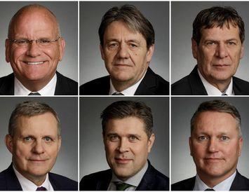 Páll Magnússon, Óli Björn Kárason, Brynjar Níelsson, Jón Gunnarsson, Bjarni Benediktsson og Njáll Trausti Friðbertsson.
