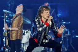 Frá tónleikum Stones í september. Jagger með mígrafónin og í baksýn er Richards.