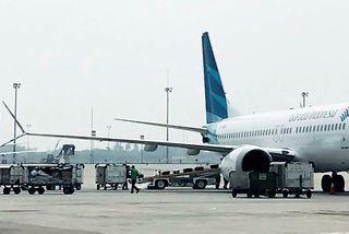 Farþegaþota Garuda, Boeing 737 Max 8, á flugvellinum í Jakarta.