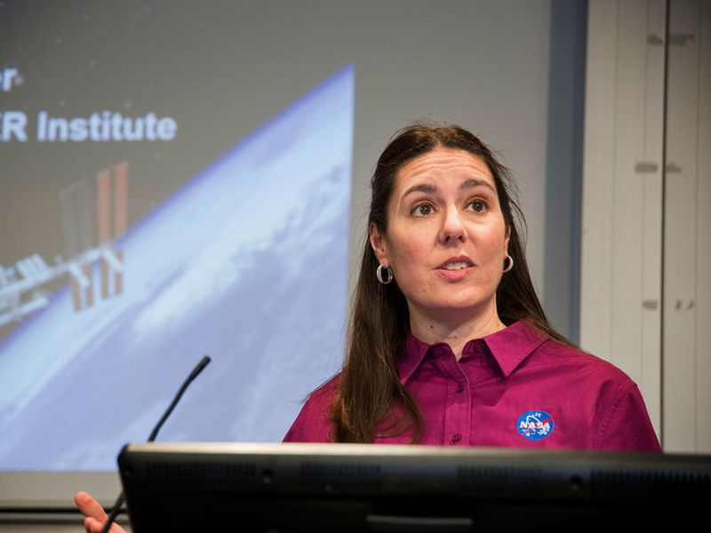 Dr. Jennifer Heldmann explained NASA's interest in Iceland at a lecture at the University of Reykjavik.