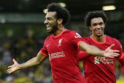 Mohamed Salah fagnar marki sínu á Carrow Road í kvöld.