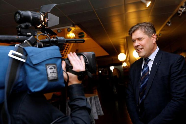 Bjarni Benediktsson, leader of the Independence Party on election night.