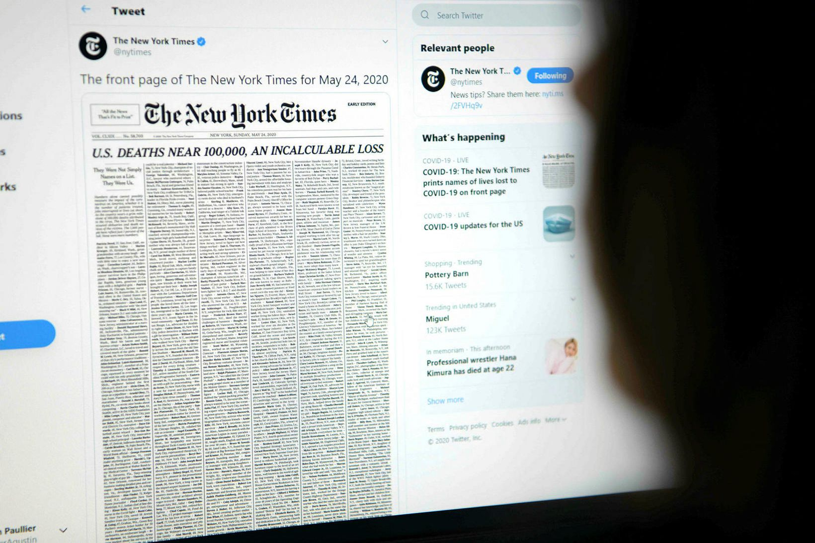 New York Times birti á forsíðu sinni lista yfir þúsund …