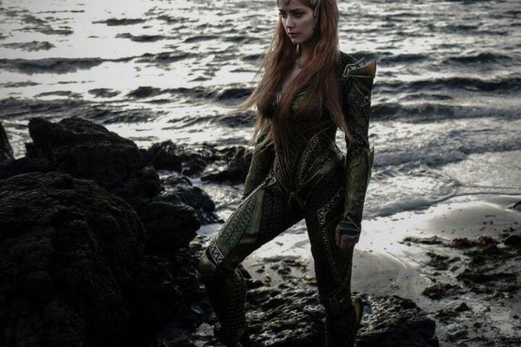 Amber Heard stars as Mera. pictured here in Strandir, North West Iceland.