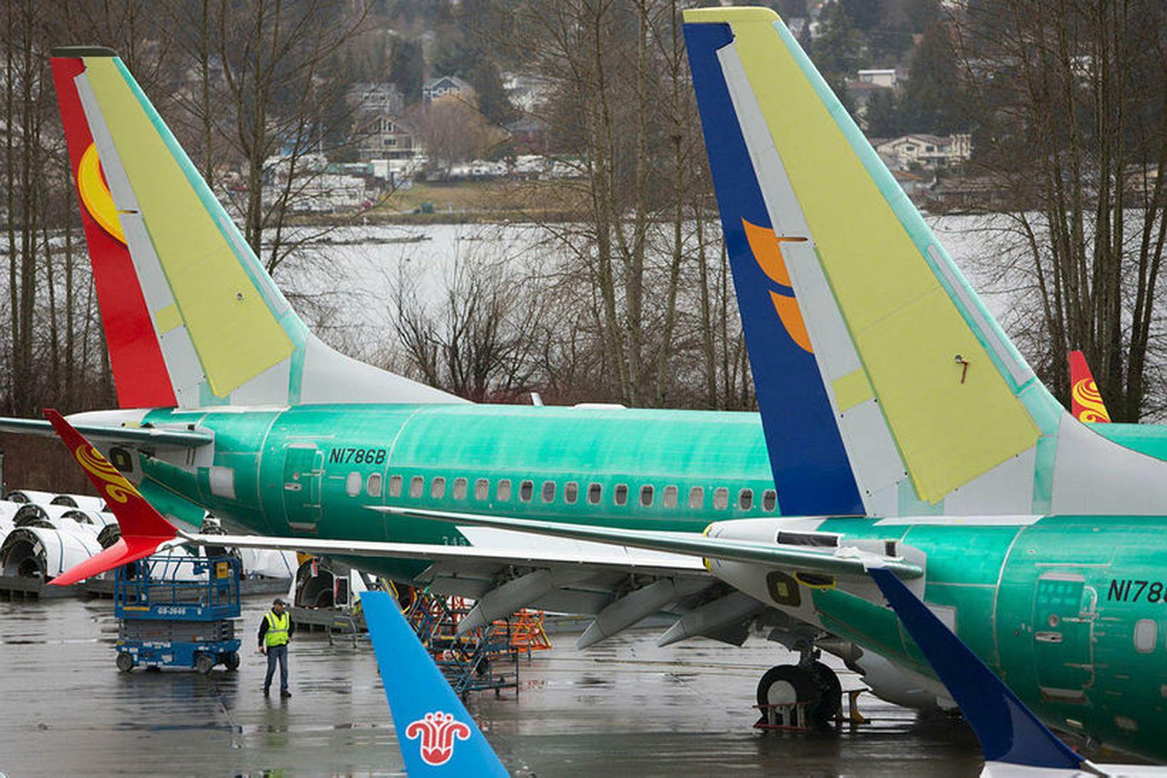 Boeing 737 Max-farþegaþotur við verksmiðju Boeing í Renton í Washington-ríki. …