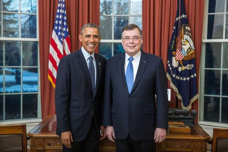 President Barack Obama with Ambassador Geir H. Haarde at the White House today.