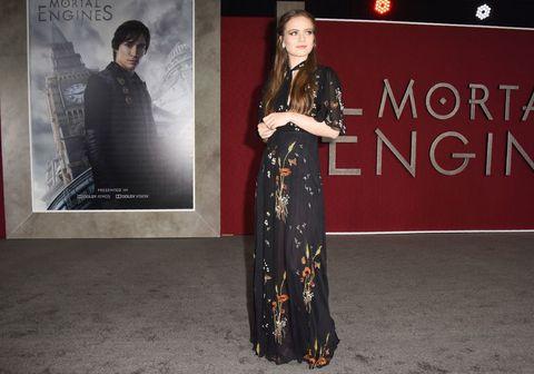 """Leikkonan Hera Hilmarsdóttir hér á frumsýningu myndarinnar  """"Mortal Engines"""" í Los Angeles í byrjun desember."""
