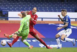 Jordan Pickford rennir sér í Virgil van Dijk í leik Everton og Liverpool með þeim …