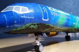 Eins og sjá má er módelið mjög nákvæm eftirlíking af vél Icelandair.
