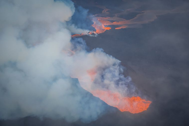 A great deal of gas pollution is eminated from the eruption.