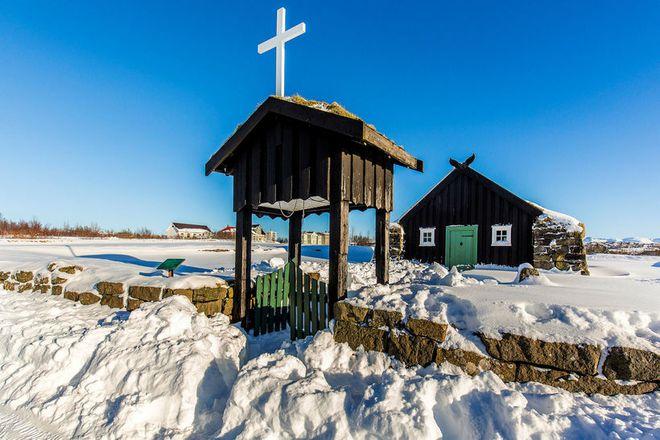 A turf church in Árbæjarsafn in Reykjavik.