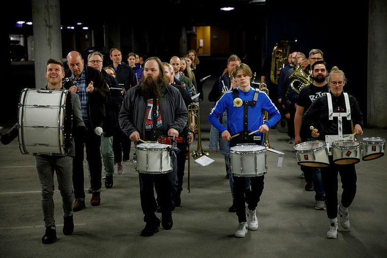 The Workers' Brass Band, practicing at Höfðatorg parking garage Monday night.