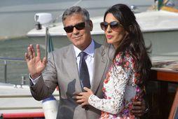 Brúðhjónin George Clooney og Amal Alamuddin