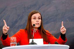Katrín Jakobsdóttir forsætisráðherra í Viðey á fundi með Merkel og Norðurlandaráðherrunum fyrr í vikunni.