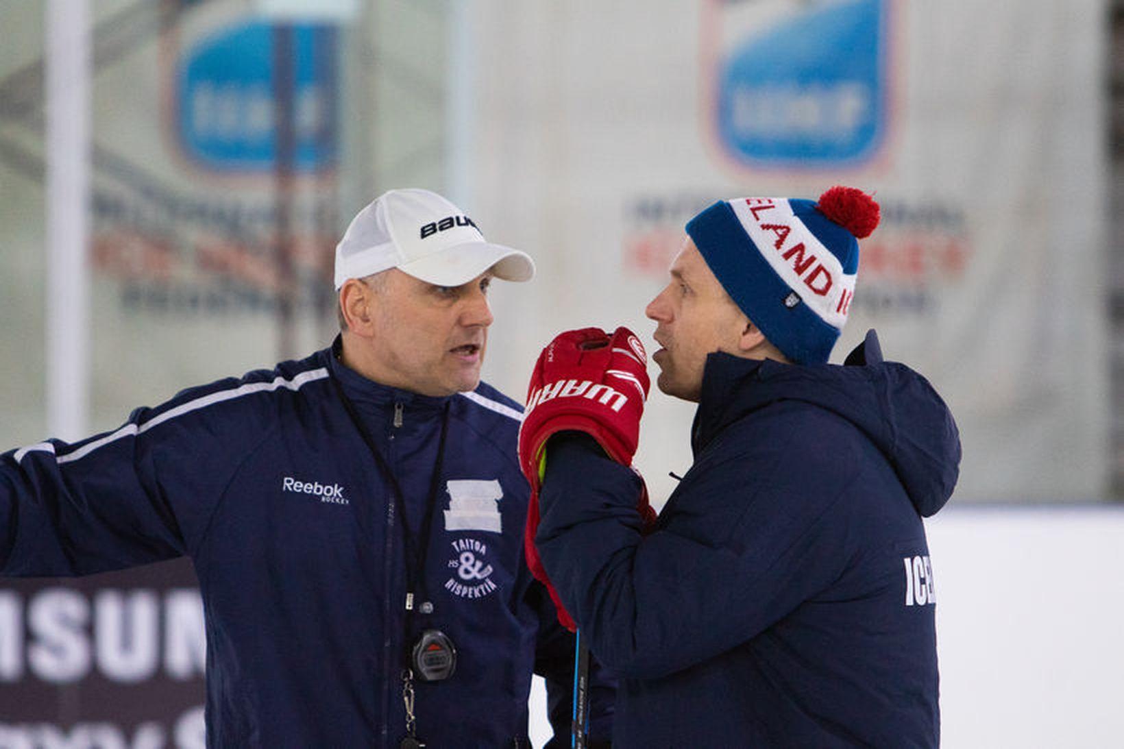 Vladimar Kolek þjálfari og Jussi Sipponen aðstoðarþjálfari á æfingu íslenska …