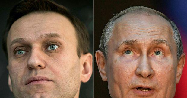 Alexei Navalny (til vinstri) og Vladimir Pútín Rússlandsforseti á samsettri mynd.