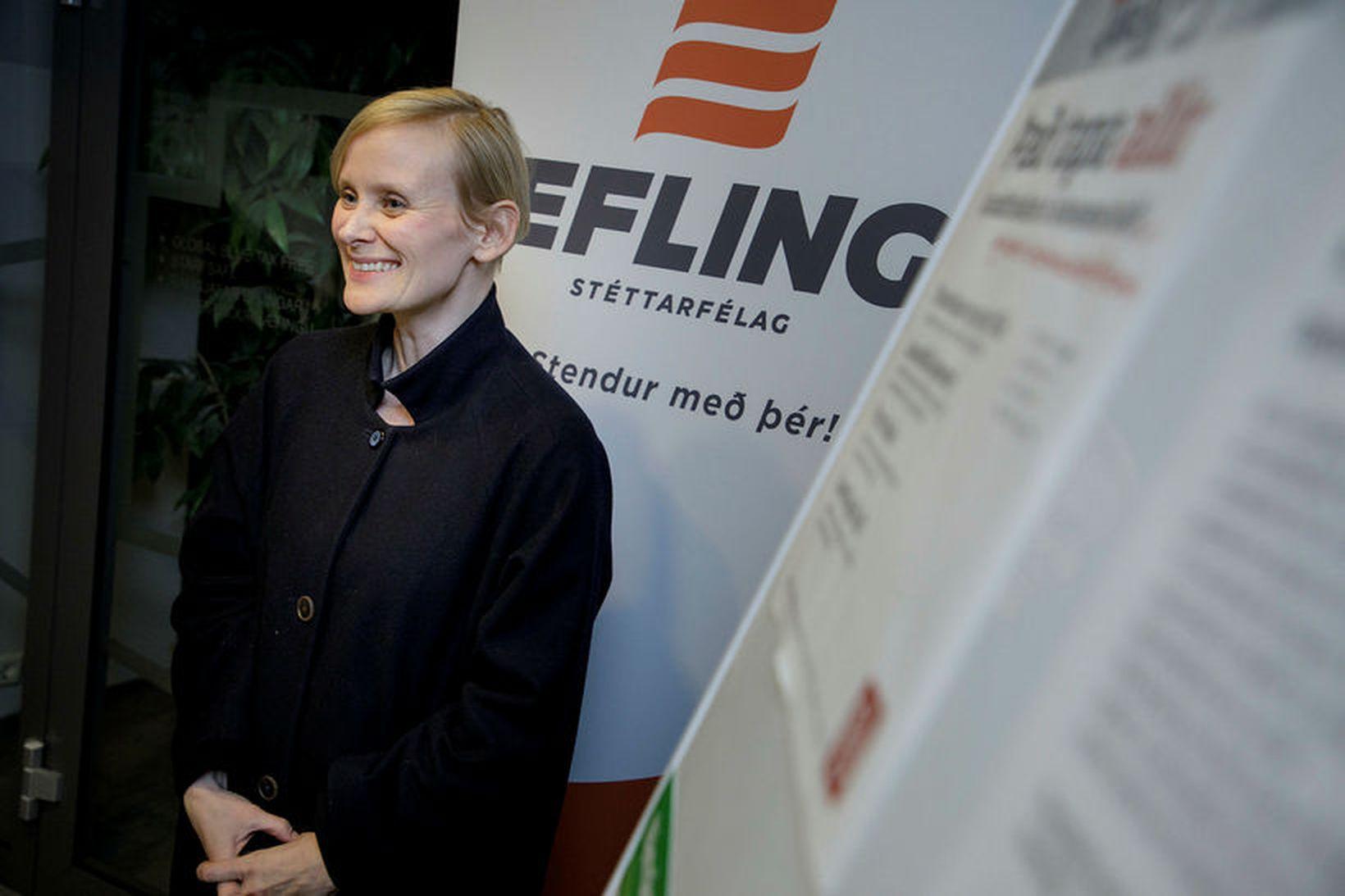 Sólveig Anna Jónsdóttir, formaður Eflingar, segir verkfall verkakvenna muni senda …