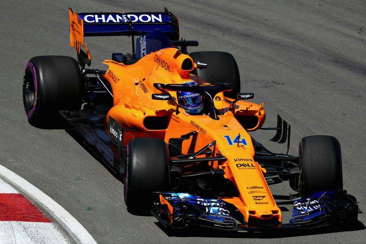 Fernando Alonso verður með nýja Renaultvél í McLarenbíl sínumí Montreal.