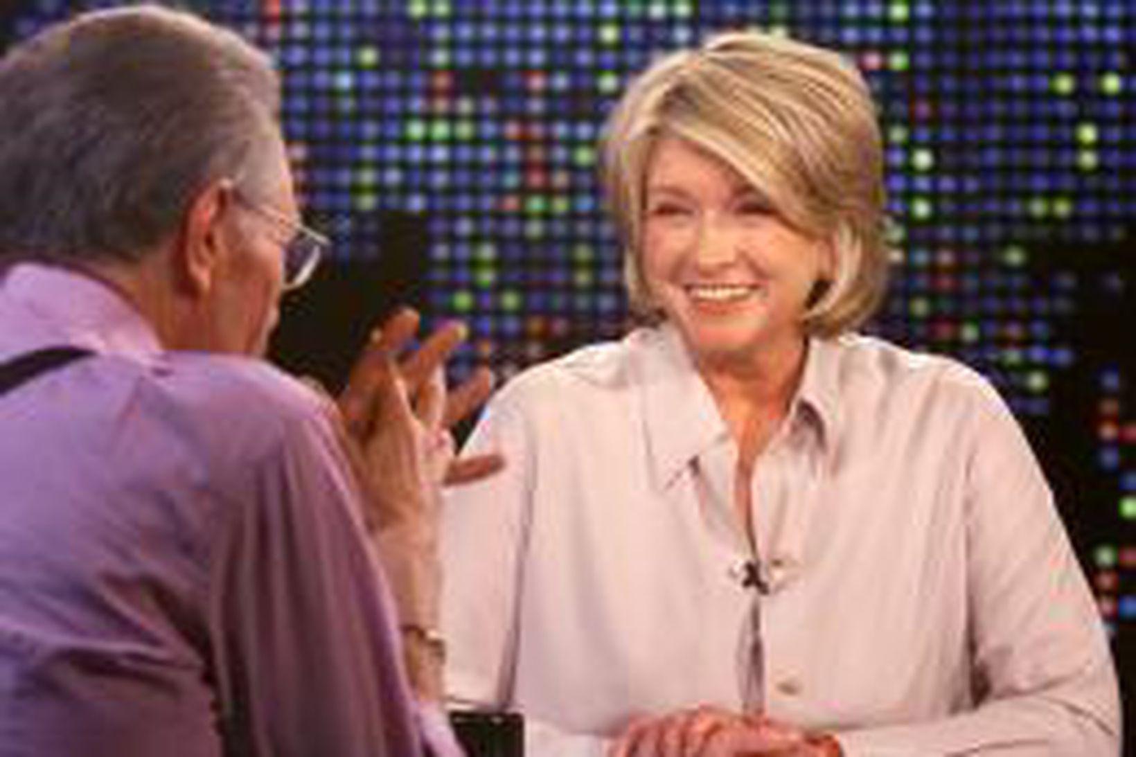 Martha Stewart í viðtali hjá þáttastjórnandanum Larry King.