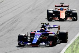 Carlos Sainz á Toro Rosso á undan landa sínum Fernando Alonso í ítalska kappakstrinum í …