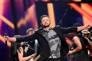 Justin Timberlake á sviðinu í Svíþjóð.