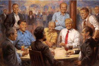 Repúblikanaklúbburinn eftir Andy Thomas. Trump er skælbrosandi með kókglas við hönd með hinum forsetunum. Á ...